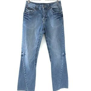 Ethyl High Rise Distressed boot cut jeans 8